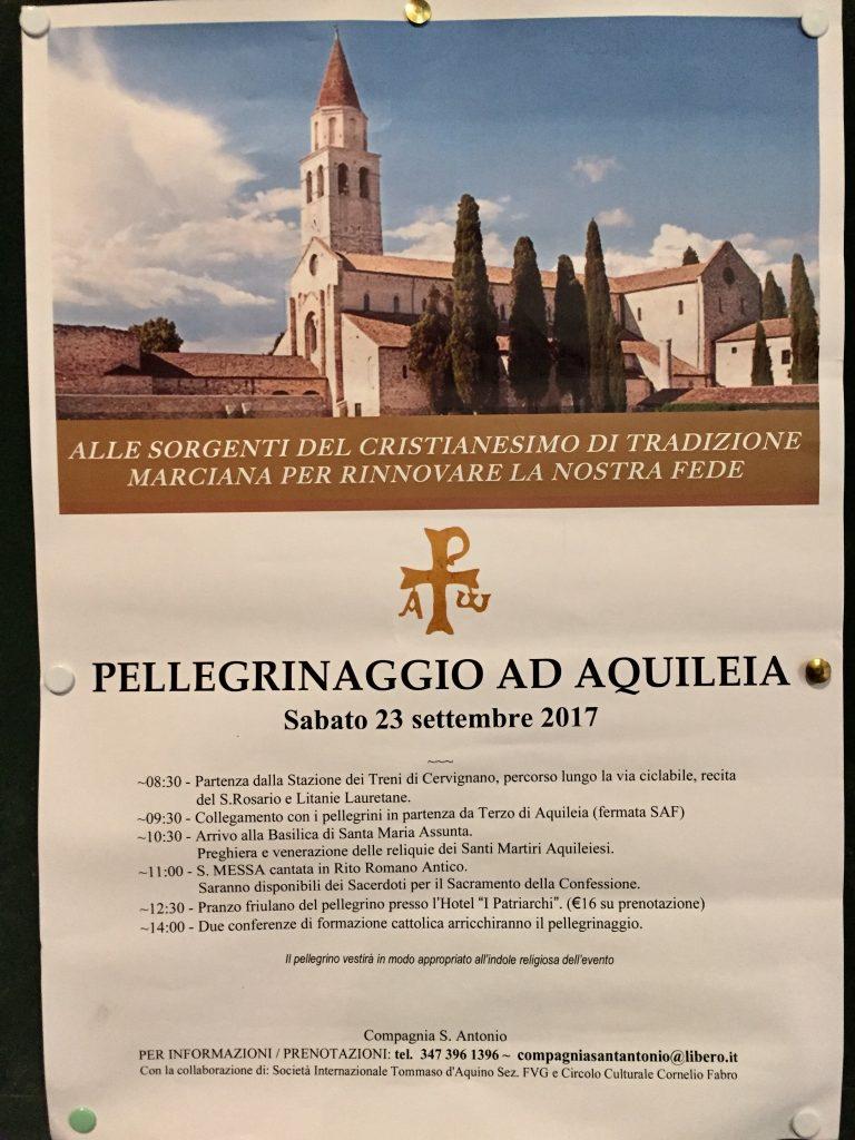 Pellegrinaggio ad Aquileia sabato 23 settembre 2017